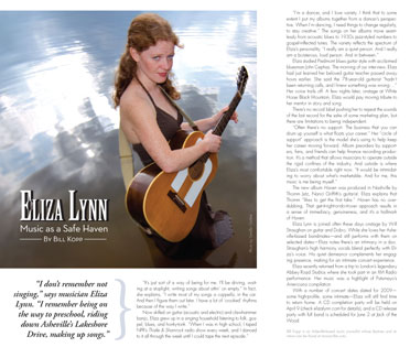 Eliza Lynn feature by Bill Kopp as published in The Laurel of Asheville