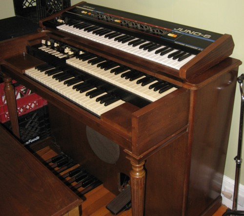 Hammond M2 organ, circa 1952 -- my Roland Juno 6 on top.