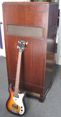 Wurlitzer Tone Cabinet ('Leslie') Model 301. Epiphone Embassy bass shown to illustrate size.